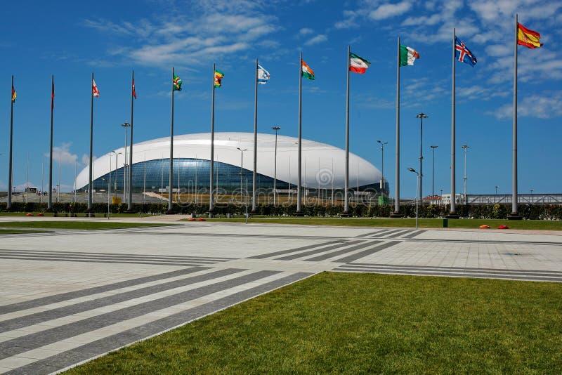Sochi Rosja, Lipiec, - 5, 2016: Hokejowy stadium w Olimpijskim parku w Sochi zdjęcie royalty free