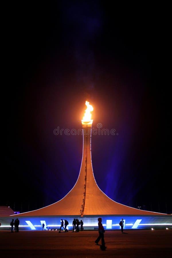 SOCHI ROSJA, LUTY, - 9, 2014: Olimpijski płomień jest w Olimpijskim Pa zdjęcie stock