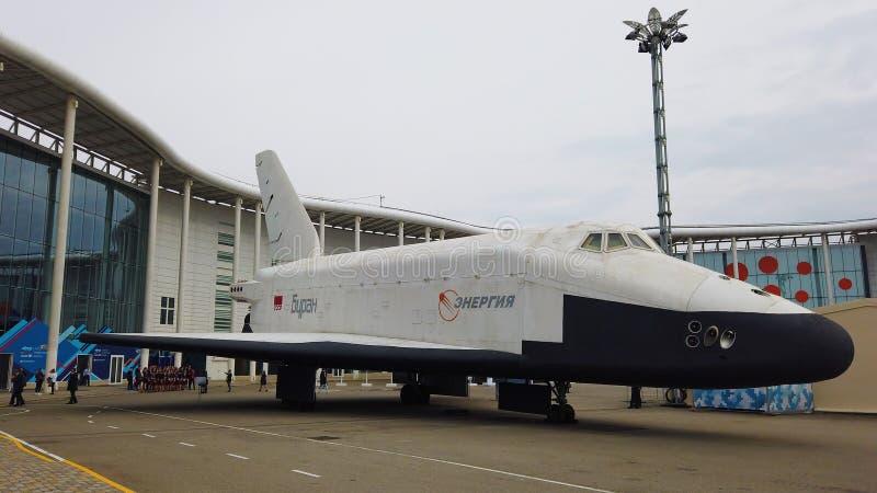 SOCHI, RUSIA - 14 DE FEBRERO DE 2019: Lanzadera BURAN de la nave espacial en el parque de ciencia y de artes 'Sirius ' 14 de febr foto de archivo libre de regalías
