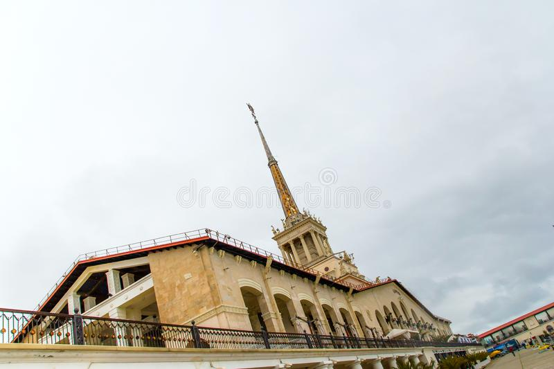 view of the spire of the building of the sea port royalty free stock photos