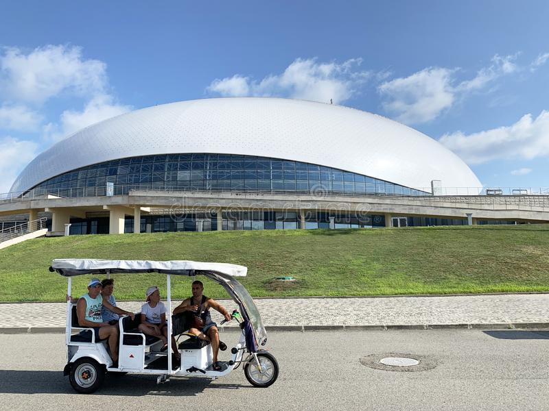 Sochi, Russia, August, 10, 2019. Excursion to the Olympic Park of Sochi Adler on a Sunny summer day. Sochi, Russia. Excursion to the Olympic Park of Sochi Adler stock photography