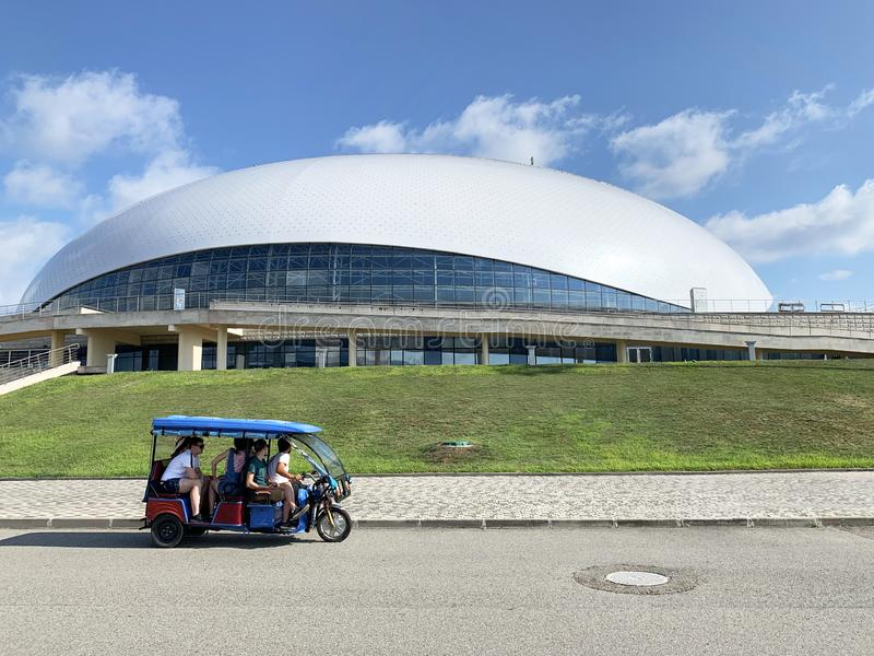 Sochi, Russia, August, 10, 2019. Excursion to the Olympic Park of Sochi Adler on a Sunny summer day. Sochi, Russia. Excursion to the Olympic Park of Sochi Adler royalty free stock image