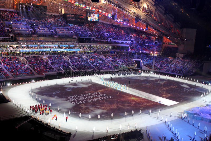 SOCHI, RUSSIA - FEBRUARY 7, 2014: Parade of Nations (parade of a. Thletes) at the opening ceremony of the XXII Olympic Winter Games in the stadium Fisht on royalty free stock photo