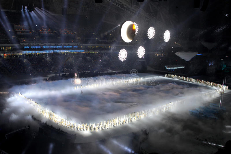 SOCHI, RUSSIA - FEBRUARY 7, 2014: snowflakes, which should become the Olympic rings, appear at the opening ceremony of the XXII O stock photos