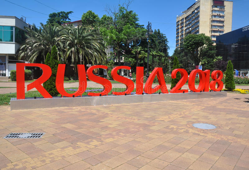 SOCHI, RUSSIA - JUNE 5, 2017: City sculpture in the center of Sochi - red letters `Russia 2018` stock photos