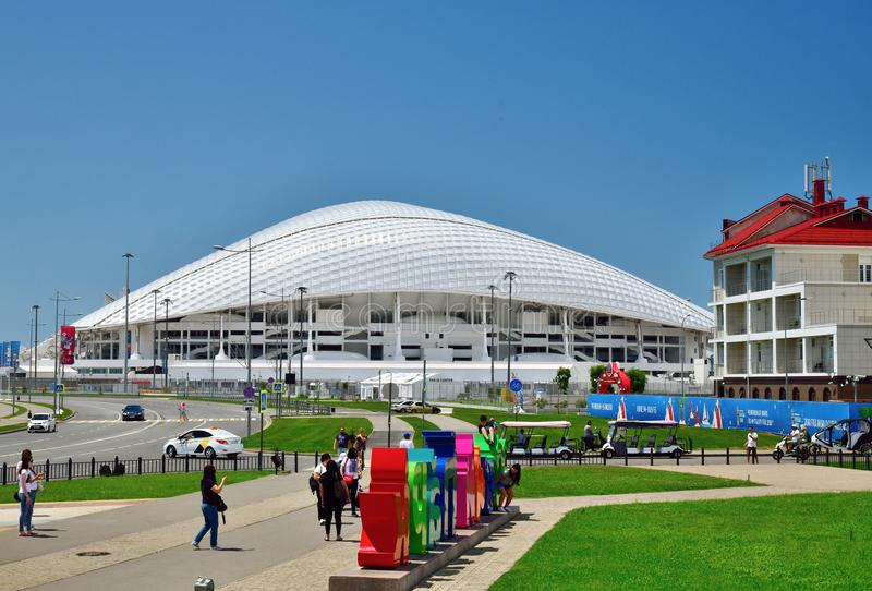 Sochi, Russia - June 2. 2018. Football stadium Fisht in Olympic Park. Sochi, Russia - June 2 2018. Football stadium Fisht in the Olympic Park royalty free stock photos