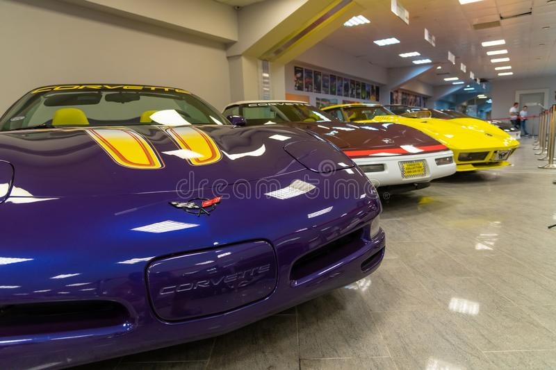 Sochi, Russia - May 30. 2018. Corvette in Auto Sports Museum in main tribune of autodrome royalty free stock images