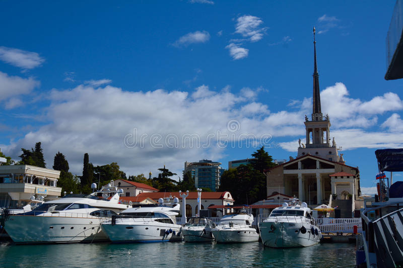 SOCHI/RUSSIAN FEDERATION - SEPTEMBER 29 2014: detail of the sea port. With the boats stock photos
