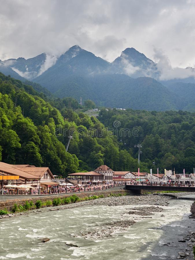 Sochi - Russian Feseration - July 24, 2017 - Embankment of the river Mzymta in the resort Rosa Khutor stock photos