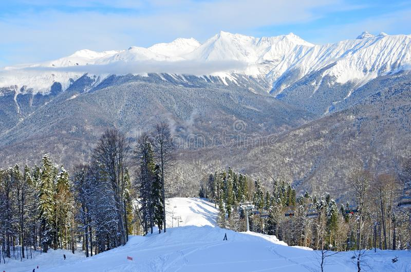 Sochi, ski resort Rosa Khutor. Winter mountain landscape.  stock images