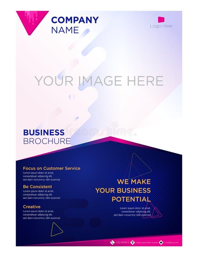 Société commerciale d'insecte de brochure et bleu violet d'entreprise illustration stock
