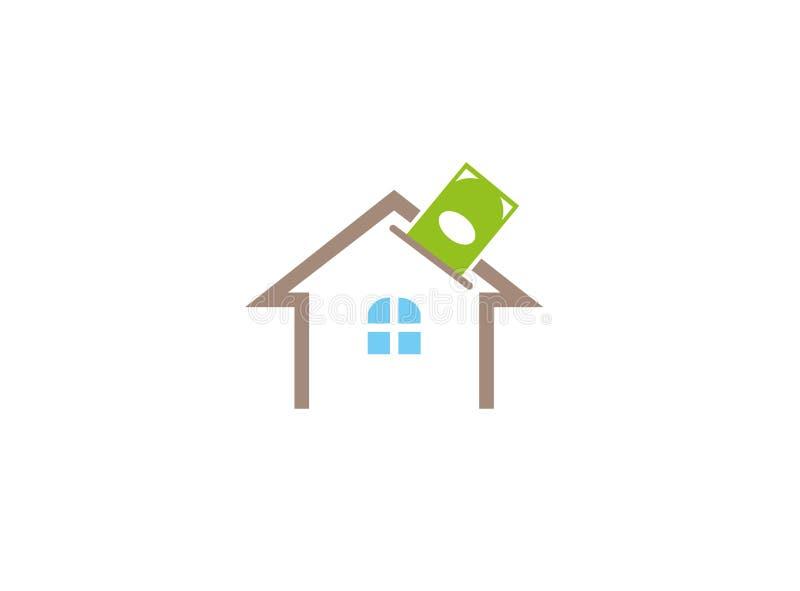 Société de construction pour l'argent de dépôt et d'économies ou investissement pour la conception de logo illustration libre de droits