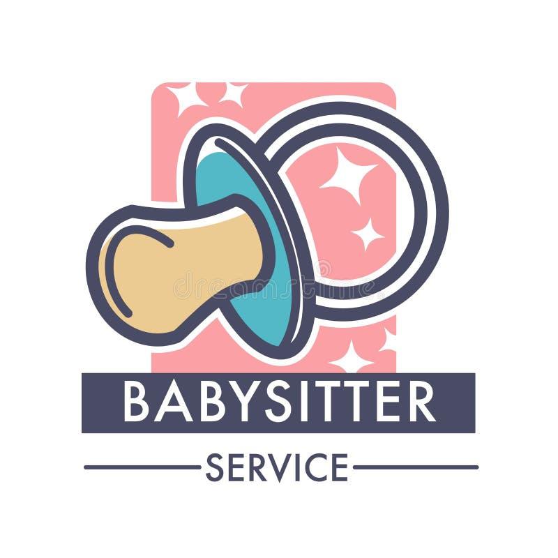 Société de prestations de services de babysitter s'inquiétant du logo d'enfants de la bonne d'enfants illustration stock