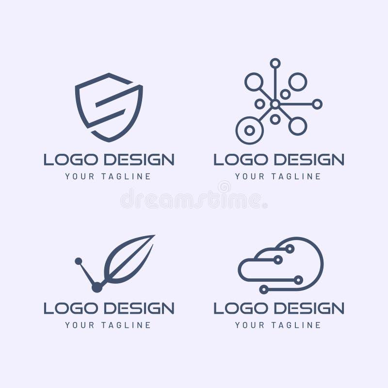 Société de technologie de collection de logo avec le style moderne minimaliste illustration stock