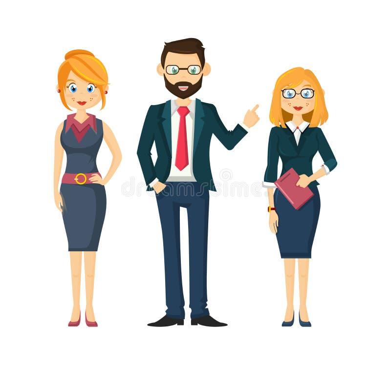 Société, groupe, associés, hommes d'affaires réussis, chefs de collègues Businessmens solides, associations illustration stock