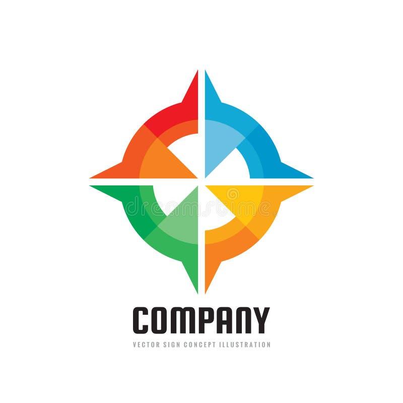 Société - illustration de vecteur de calibre de logo d'affaires de concept dans le style plat Signe créatif de boussole abstraite illustration stock