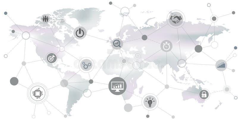Société internationale : rendement de l'entreprise/réseau/numérisation - illustration illustration libre de droits