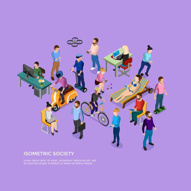 Société isométrique de personnes illustration libre de droits