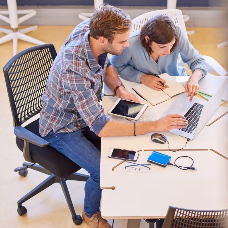 Soci commerciali casuali che lavorano duro esaminando lo schermo del computer portatile immagini stock