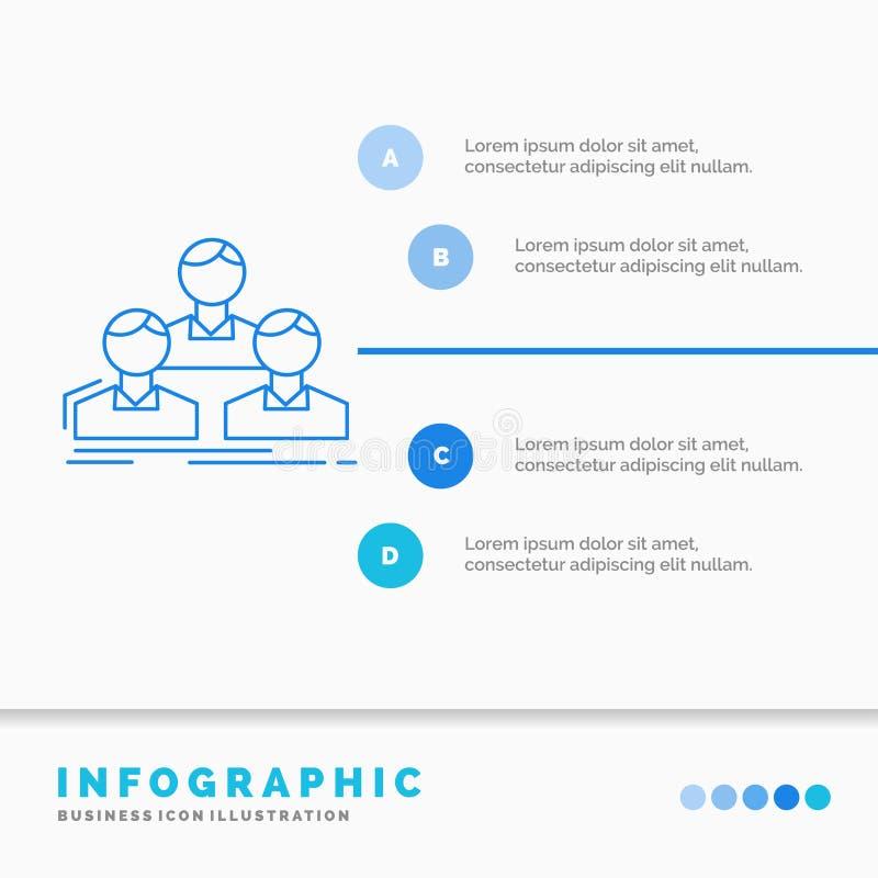 Soci?t?, employ?, groupe, les gens, calibre d'Infographics d'?quipe pour le site Web et pr?sentation Ligne vecteur infographic de illustration stock