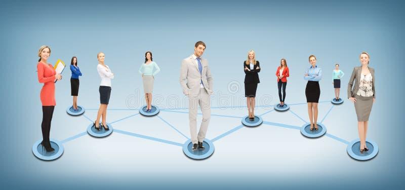 Sociaal of bedrijfsnetwerk stock afbeeldingen
