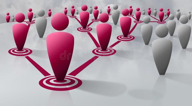 Sociaal of biologisch netwerk van menselijke cijfers vector illustratie