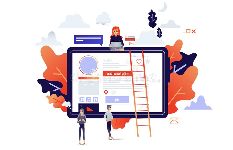 Sociaal communicatie concept met beeldverhaalmensen die aan het netwerk en de apparaten van Internet verbinden vector illustratie