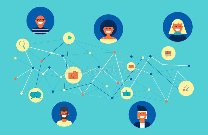 Sociaal de groeps online conceptontwerp van de netwerkvriend royalty-vrije illustratie