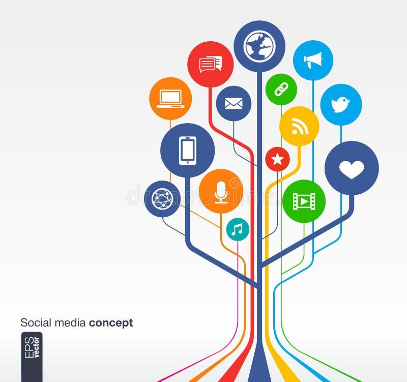 Sociaal de media van de de groeiboom netwok concept stock illustratie