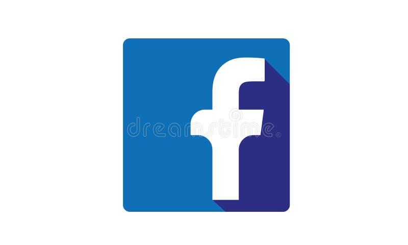 Sociaal de Media van Facebook Pictogram Logo With Shadow vector illustratie