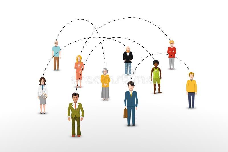Sociaal de verbindingsconcept van netwerkmensen vector illustratie