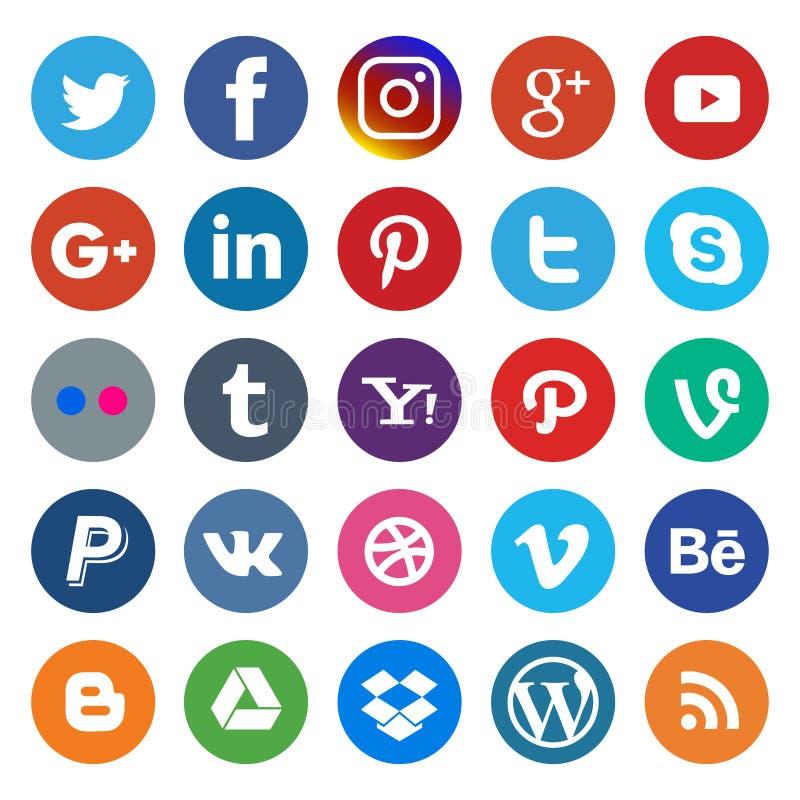 Sociaal die media pictogram en kleurrijk op populair rond wordt gemaakt stock illustratie