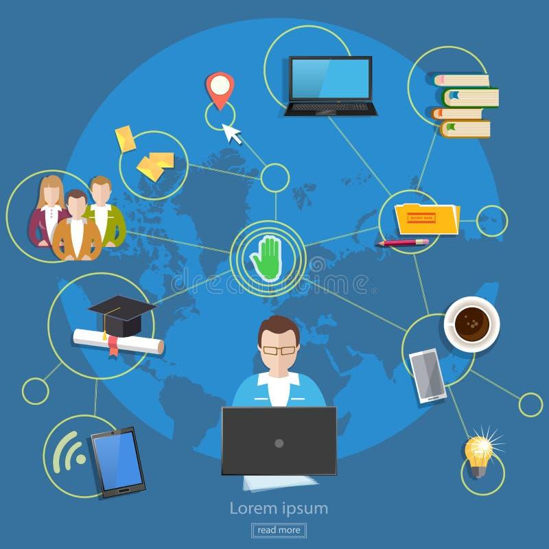 Sociaal het beheers online onderwijs van netwerken teawork mensen vector illustratie