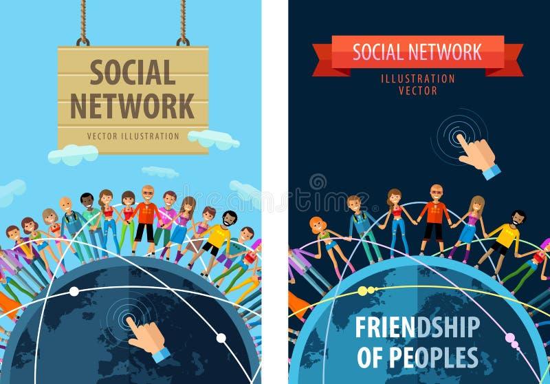 Sociaal het ontwerpmalplaatje van het netwerk vectorembleem stock illustratie
