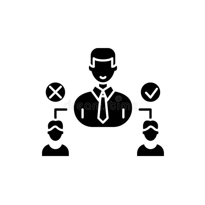 Sociaal hiërarchie zwart pictogram, vectorteken op geïsoleerde achtergrond Het sociale symbool van het hiërarchieconcept, illustr vector illustratie