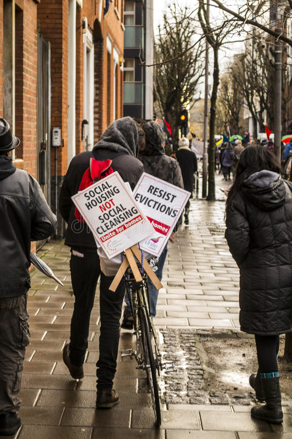 Sociaal huisvestingsprotest stock foto's
