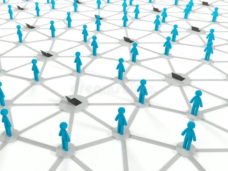 Sociaal Internet aansluting concept, 3d netwerk royalty-vrije illustratie