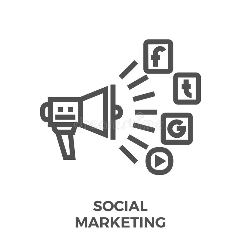 Sociaal marketing lijnpictogram royalty-vrije illustratie