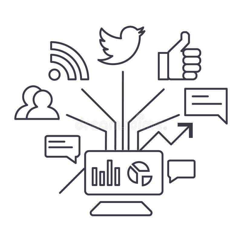 Sociaal marketing vectorlijnpictogram, teken, illustratie op achtergrond, editable slagen stock illustratie