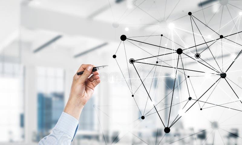 Sociaal mededeling en voorzien van een netwerk als concept voor e-business royalty-vrije stock afbeeldingen
