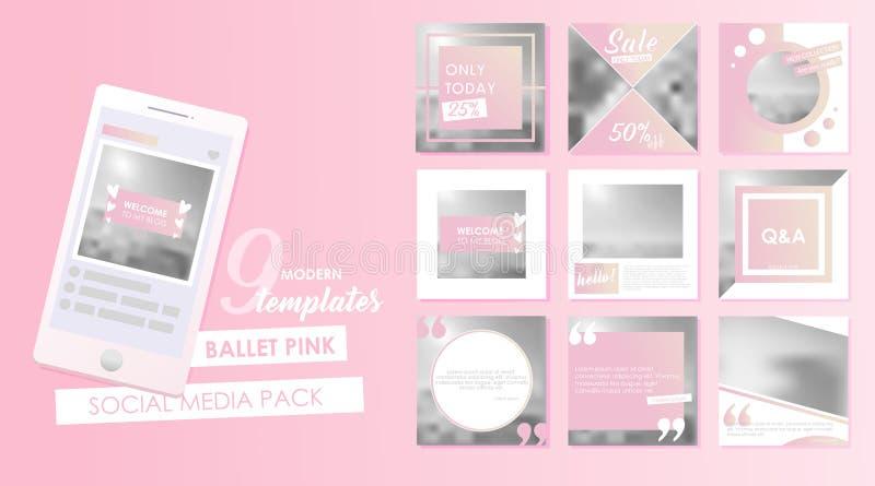 Sociaal media bannermalplaatje voor uw blog of zaken Leuke geplaatste pastelkleur roze ontwerpen royalty-vrije illustratie