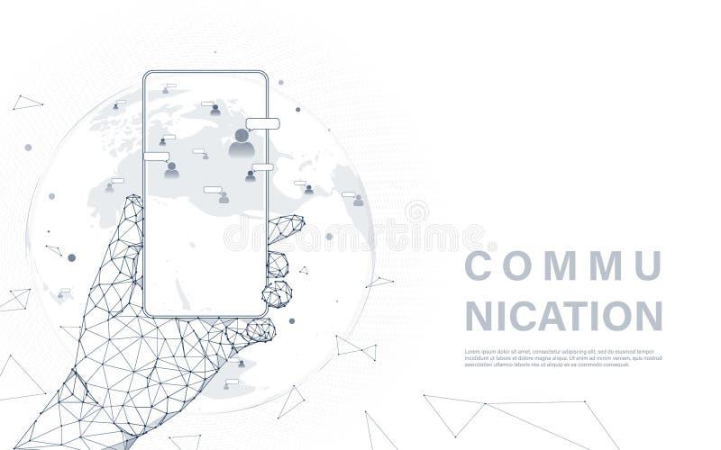 Sociaal media communicatie concept Smartphone van de handholding met menselijke communautaire pictogrammen op wereldkaart De tech stock illustratie