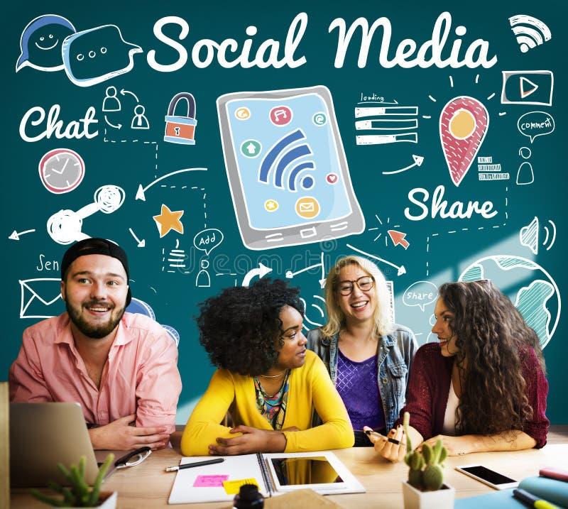 Sociaal Media Communicatie van het Praatjeaandeel Globaal Concept stock foto's