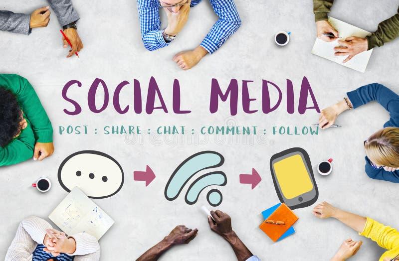 Sociaal Media Communication-Bericht Verbindend Concept stock fotografie