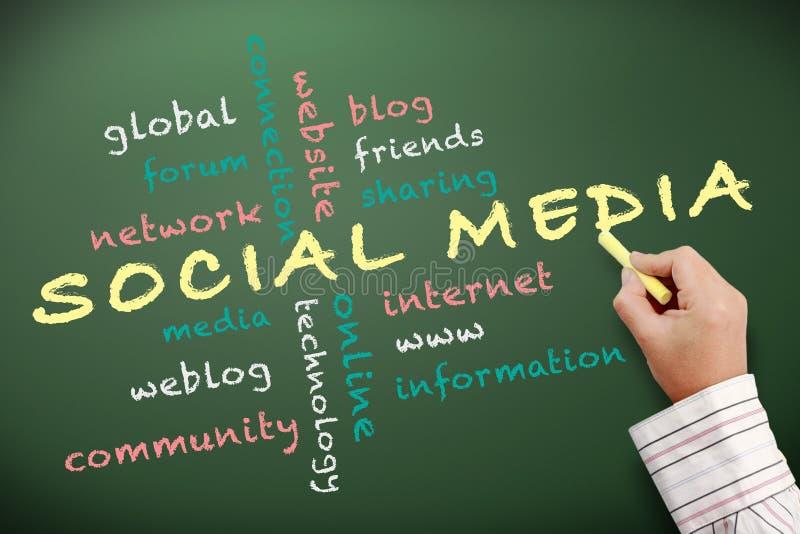Sociaal media concept dat op bord wordt geschreven vector illustratie