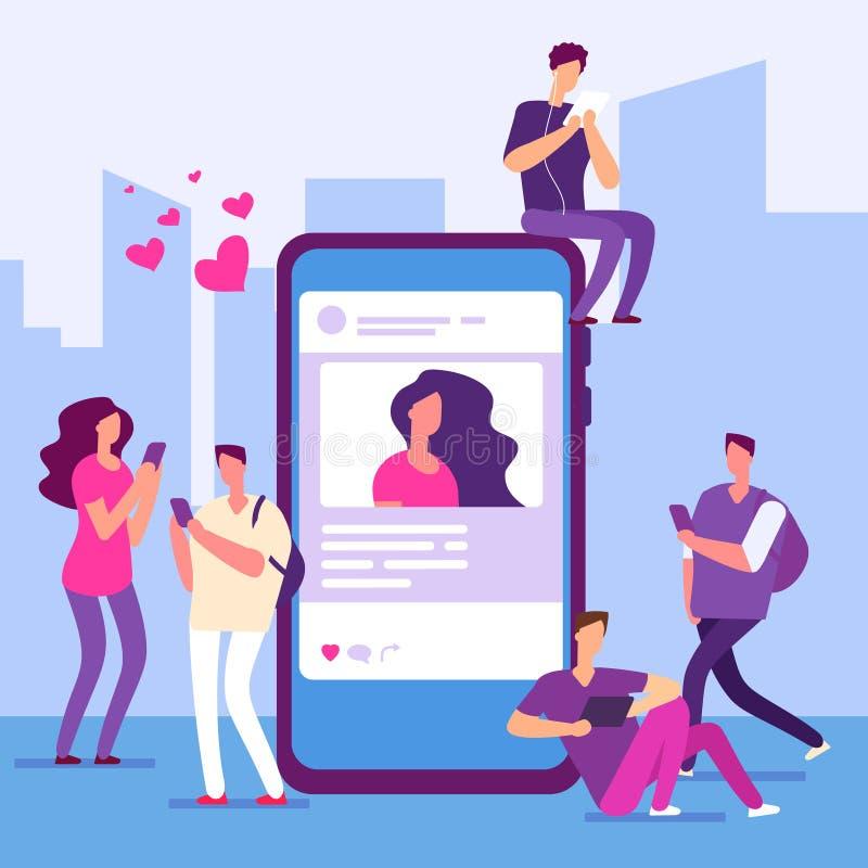 Sociaal media concept De mensen volgen smartphone met bericht en als royalty-vrije illustratie