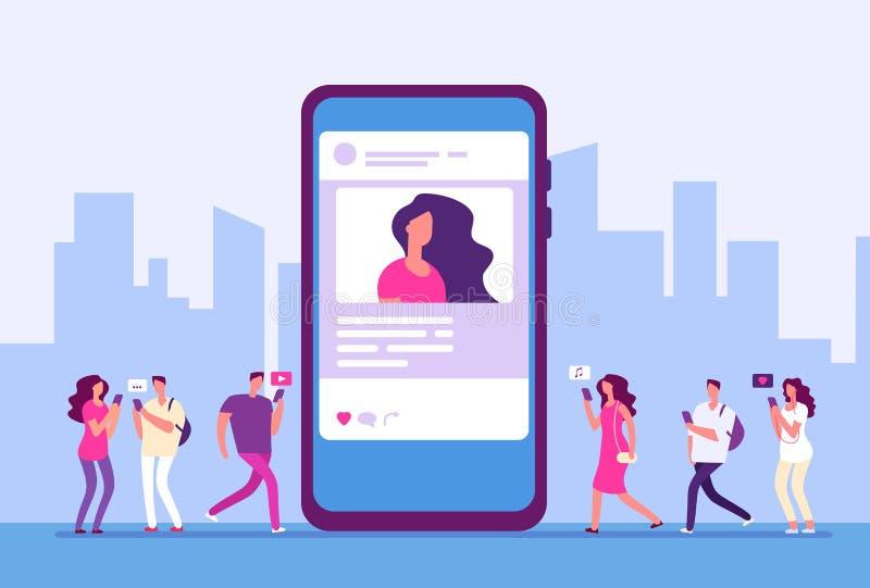Sociaal media concept De mensen volgen smartphone met de marketing, het bericht en de pictogrammen van Internet Sociale communica vector illustratie