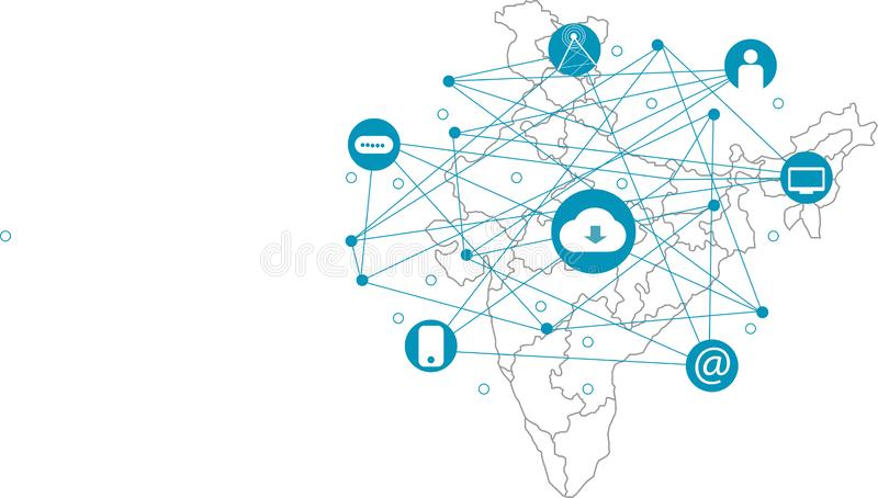 Sociaal media concept Mededeling in de mondiale computernetten stock illustratie