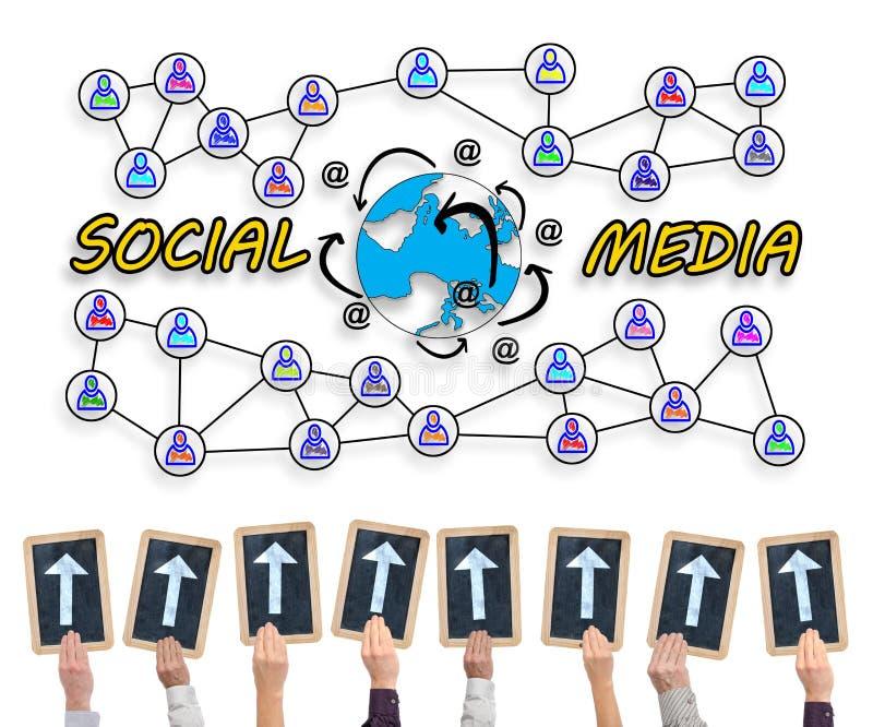 Sociaal media concept op een whiteboard vector illustratie