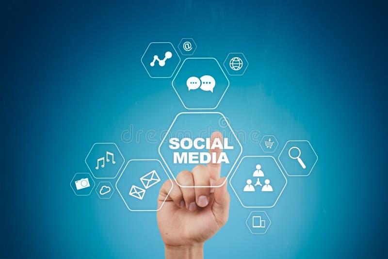 Sociaal media concept op het virtuele scherm SMM marketing Mededeling en Internet-technologie stock afbeeldingen